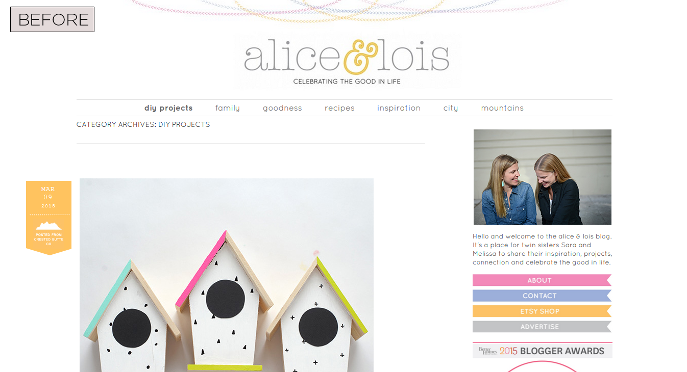Alice & Lois Category Page - Before