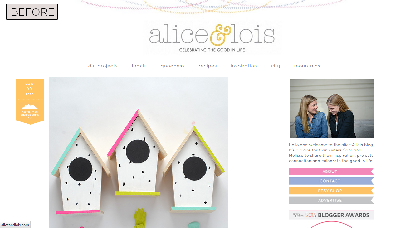 Alice & Lois Homepage - Before